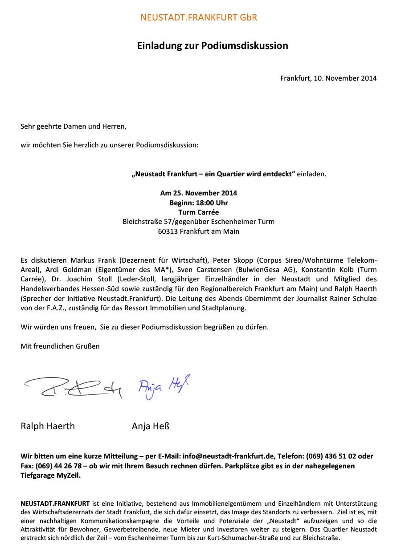 Einladung Podiumsdiskussion
